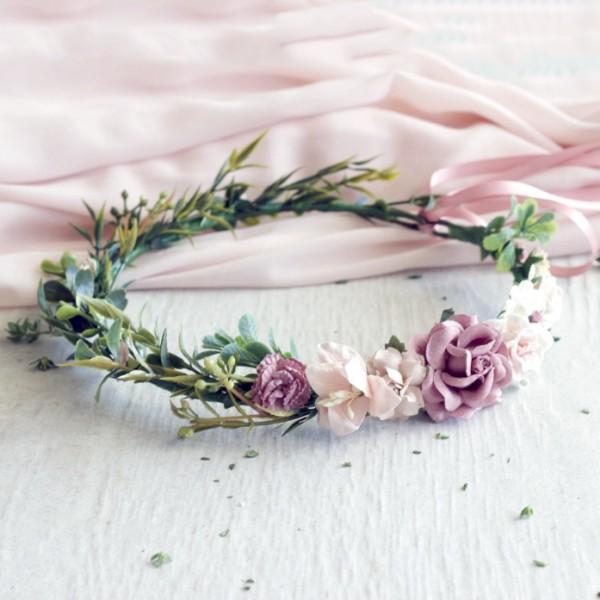blush pink flower crowns