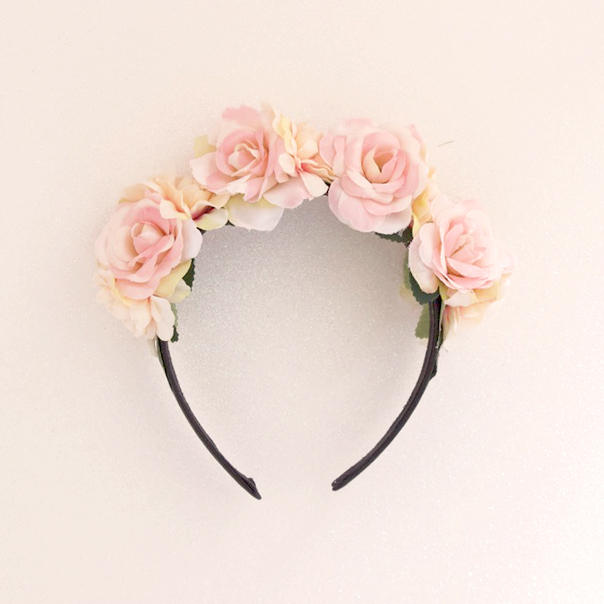 pink head piece roses