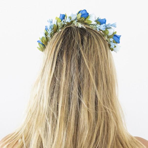 blue rose hair piece