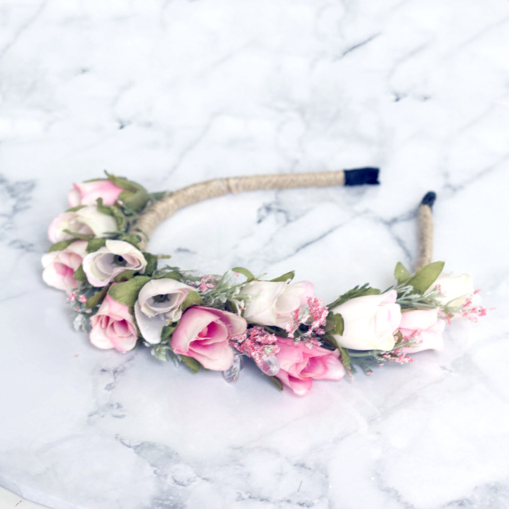 pink rose flower headband