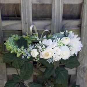 white bridal flower hair crown