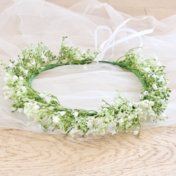 wedding floral crown baby breath