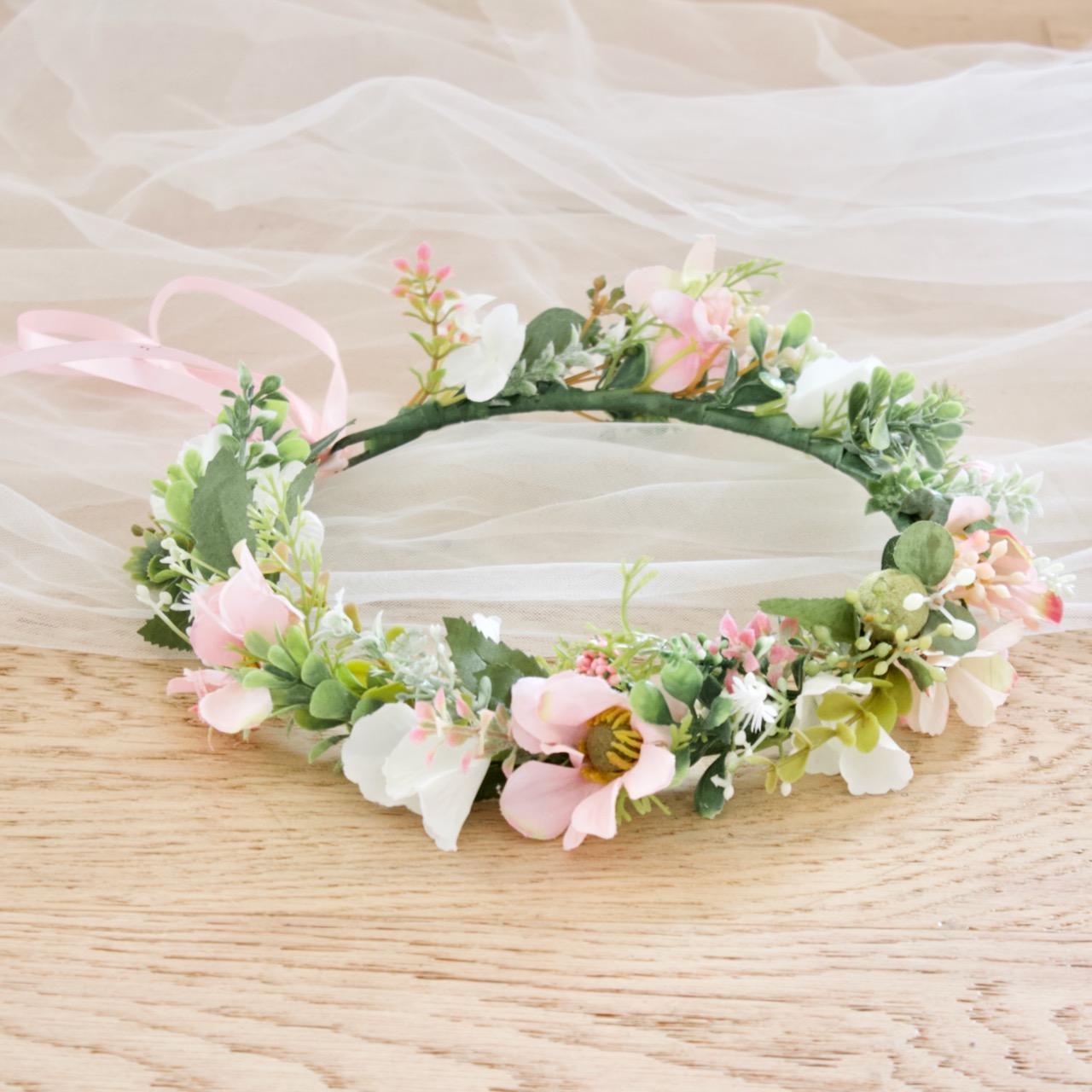 sweet pink kids flower crown