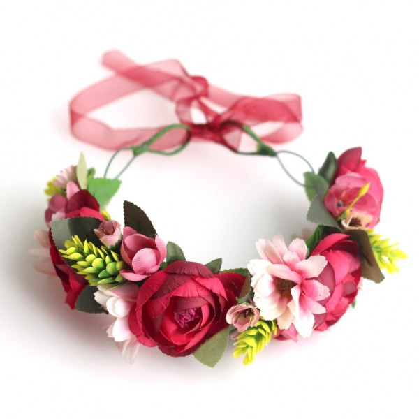 red cheap flower crowns