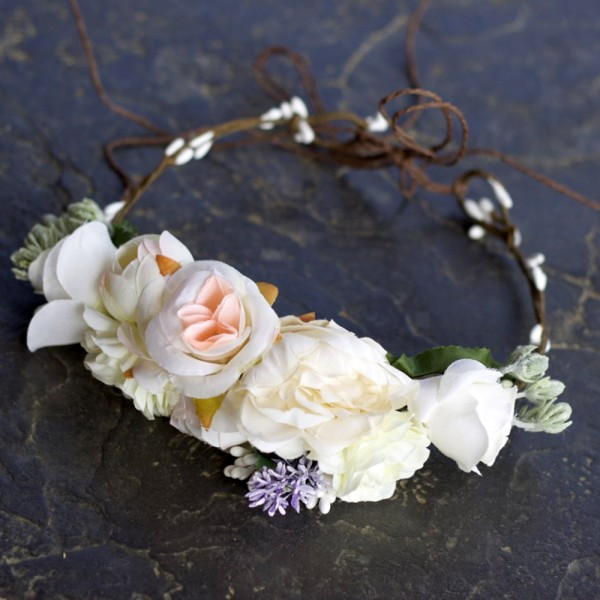 cream silk flower headband