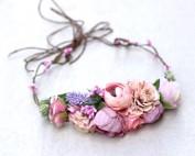 girls pink headband flowers fake