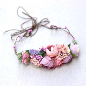girls pink headband flowers fake