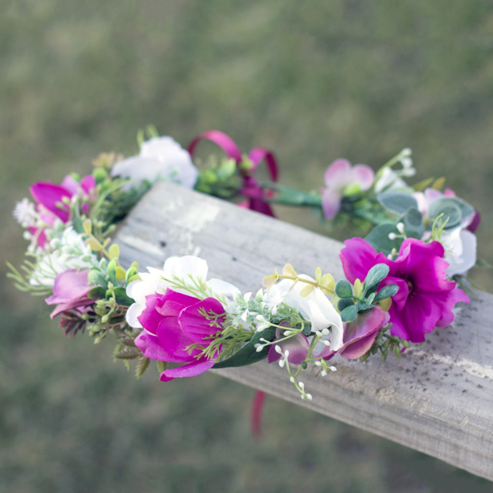 magenta wildflower crown