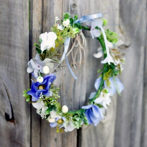 wild flower boho blue headband
