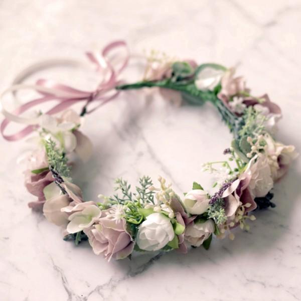 dusty pink silk flower crown