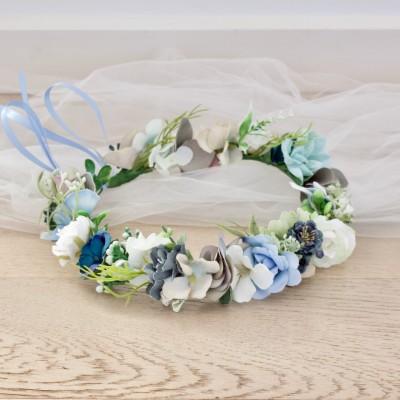 blue white bridal flower crowns