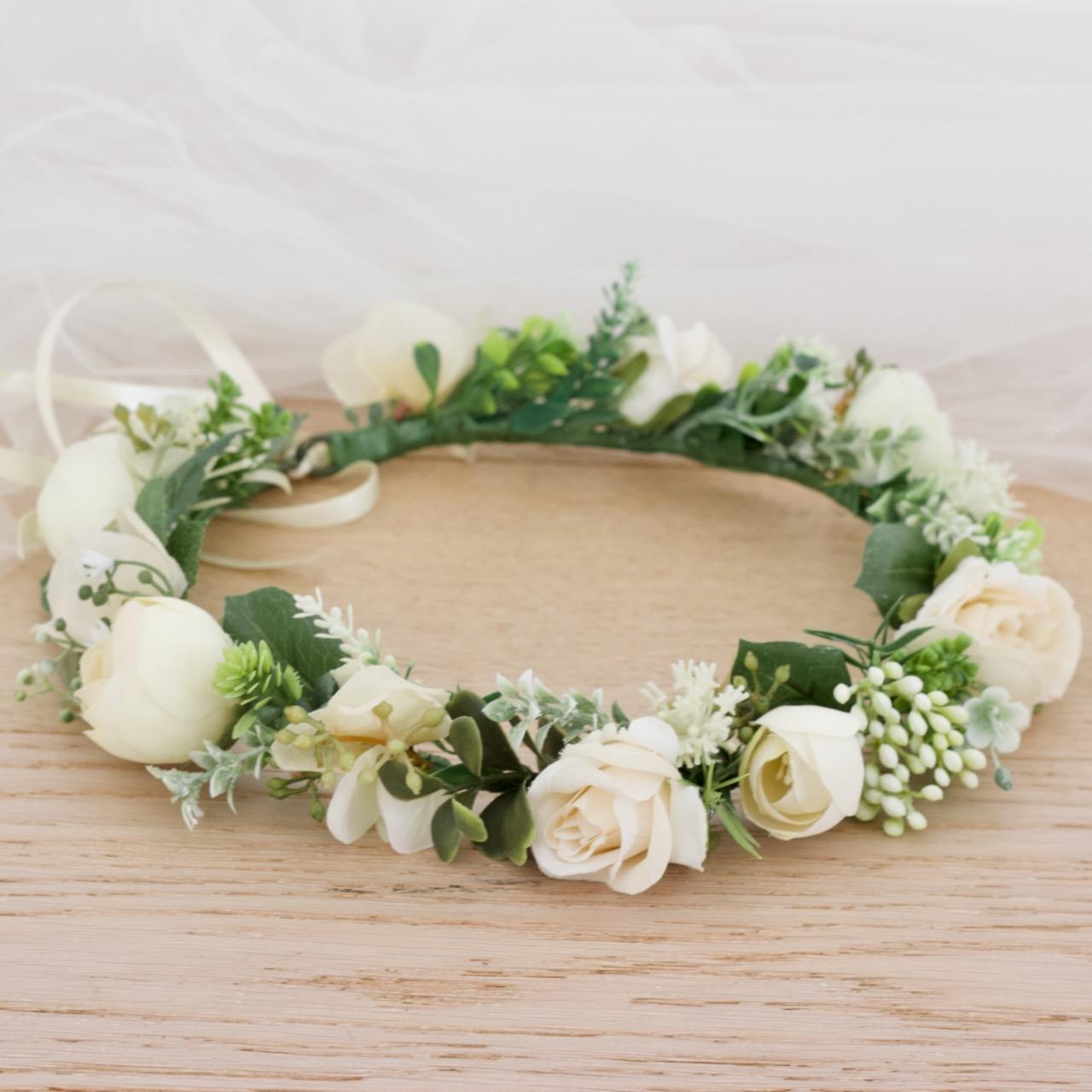 ivory hair flower wreath