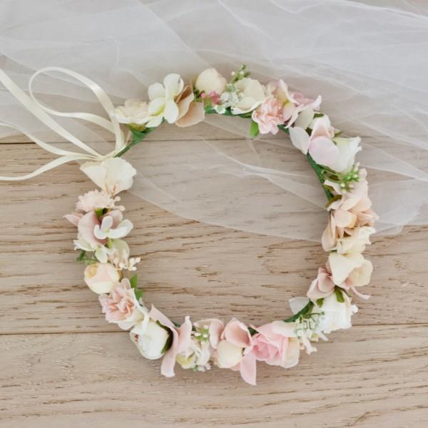 blush faux floral crown
