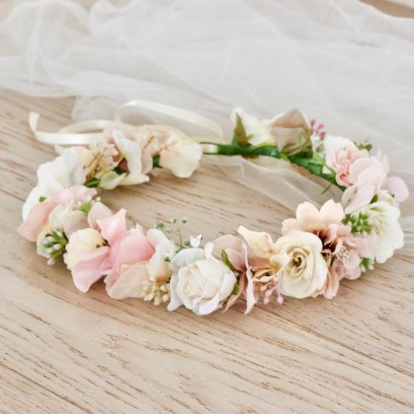 bride faux flowers hair headband