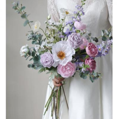 wedding bouquet silk purple