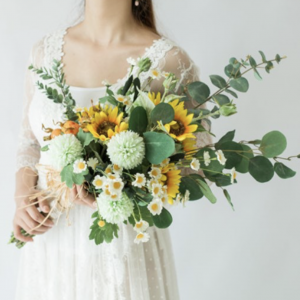 fake flower bouquet wedding sunflowers