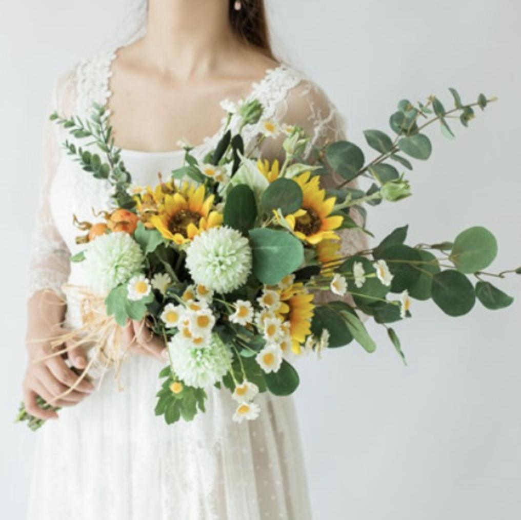 fake flower bouquet wedding sunflowers