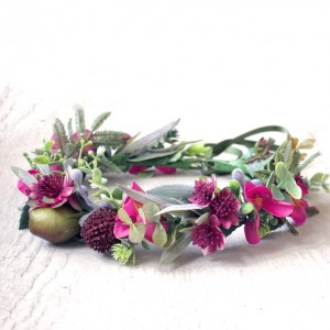 pink blossom floral crown