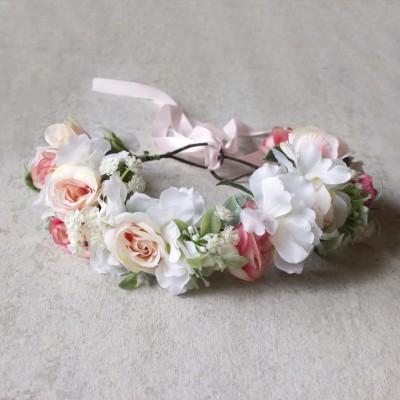 pink white pretty hair flowers