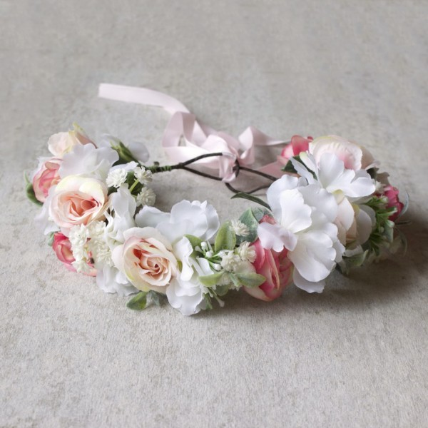 pink white pretty hair flowers