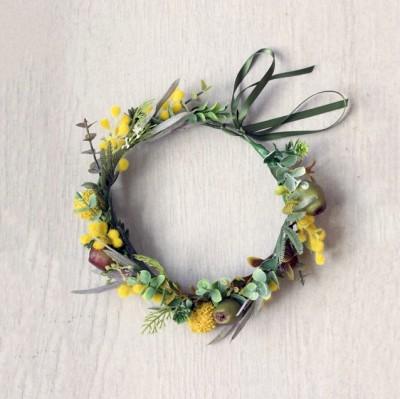 yellow wattle flower crown Aus
