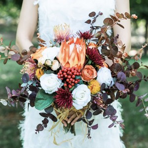 autumn orange dusty floral bouquet