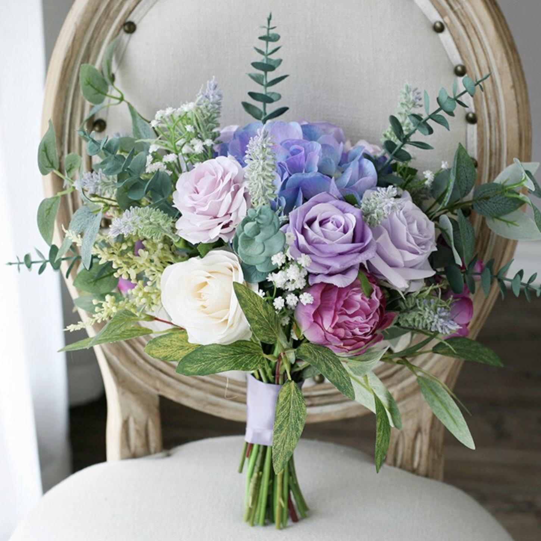 purple blue leafy bouquet