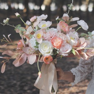 fake flower bouquet peach