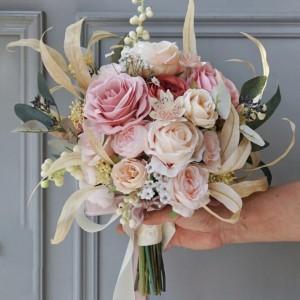 gold leaf floral bouquet pink rose