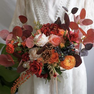 artificial red floral autumn bouquet wedding