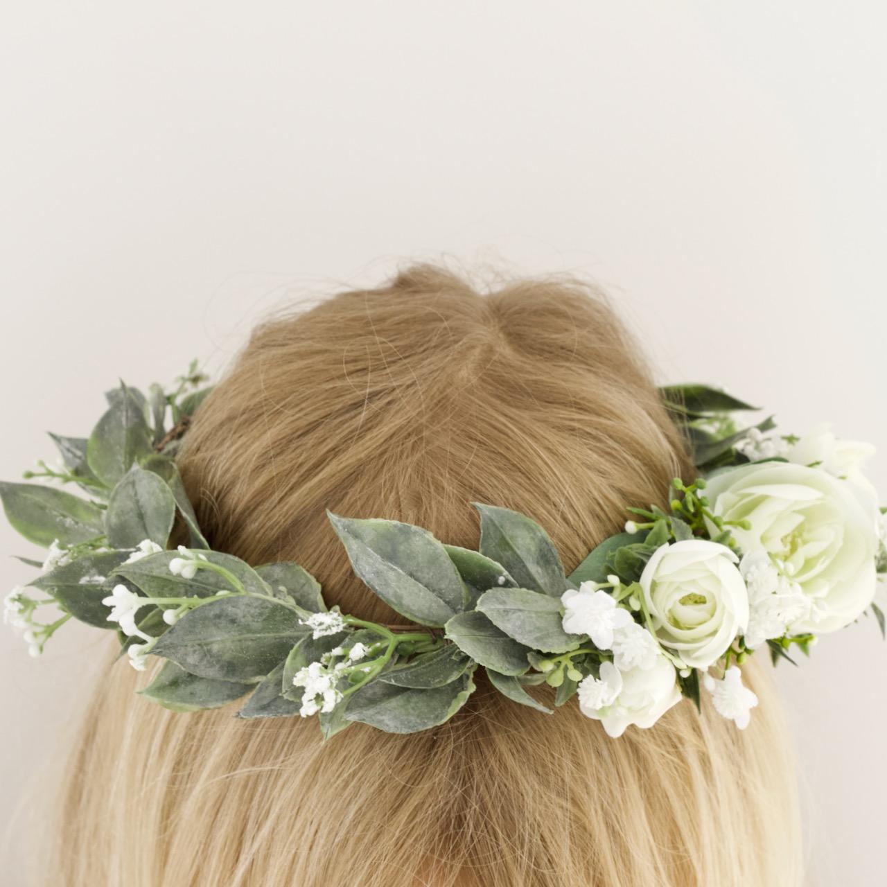 bride white rose greenery flower crown