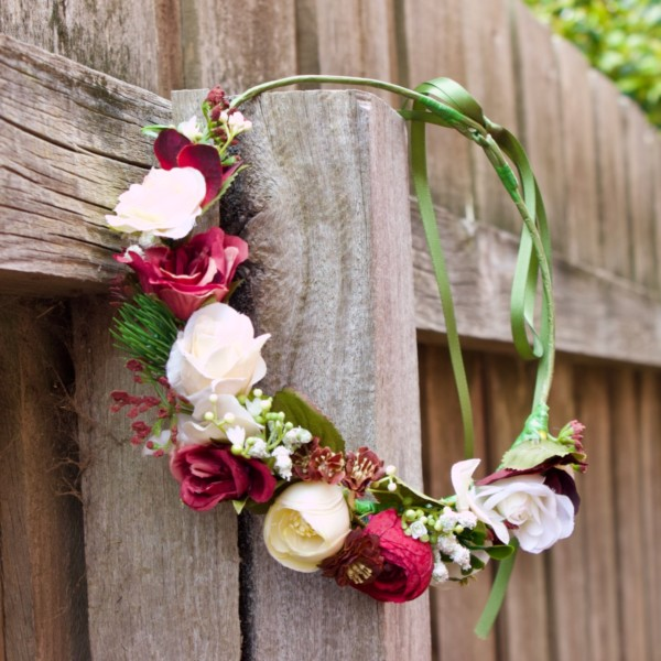 artificial red rose floral headband