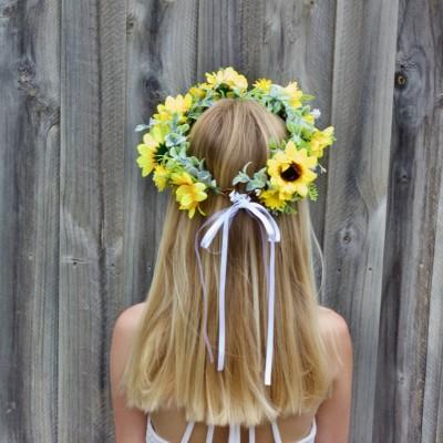 sun flower hair crown