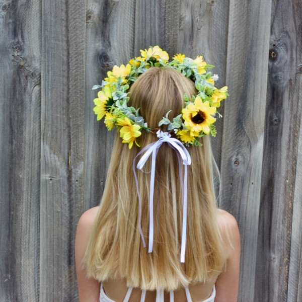 sun flower hair crown