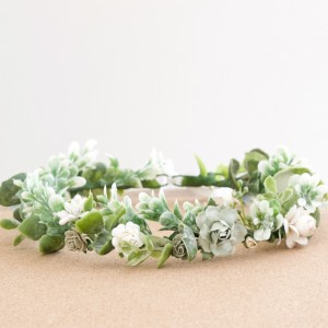 white green flower crown