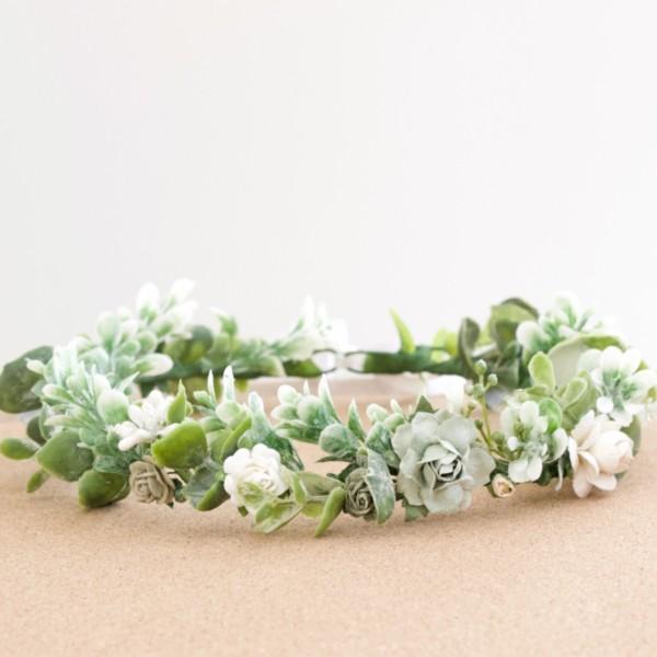 white green flower crown