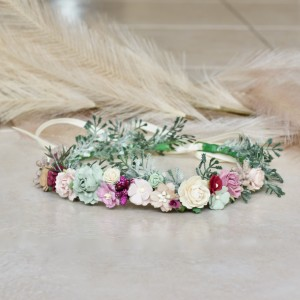 burgundy wedding kids headband