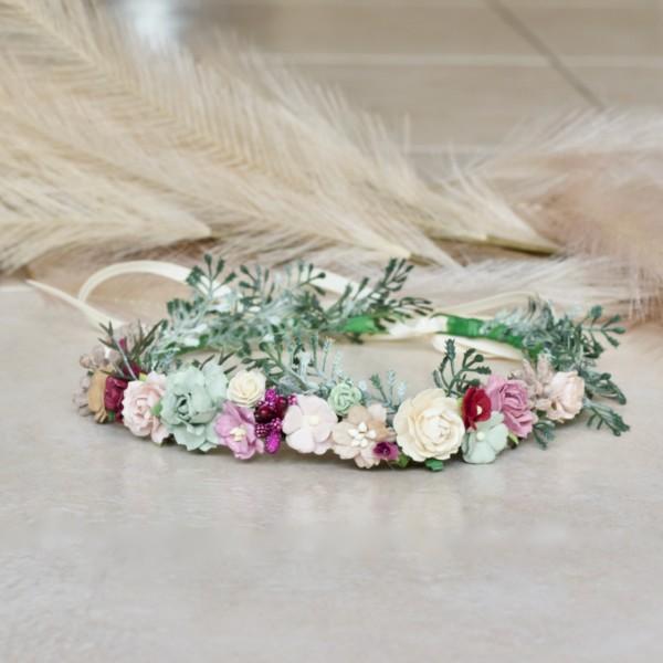 burgundy wedding kids headband