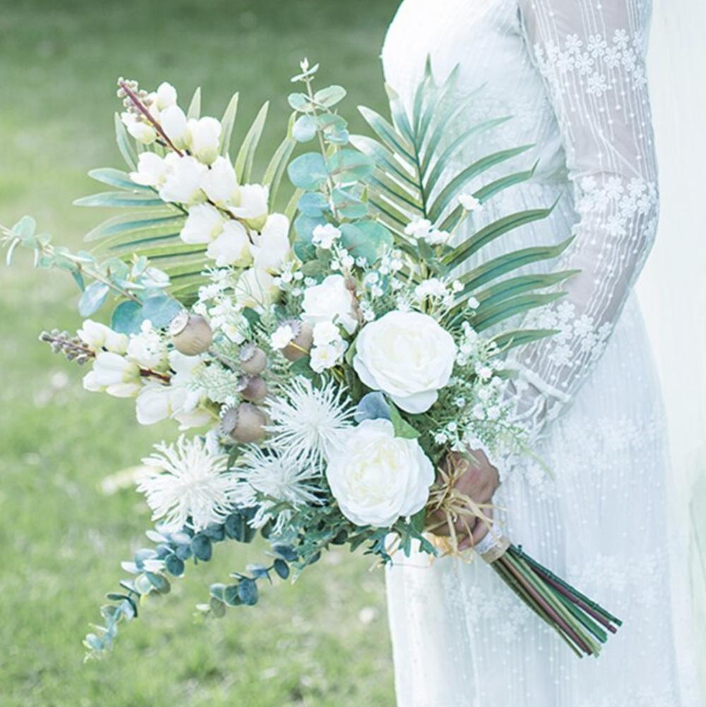 bridal white bouquet palm beach wedding