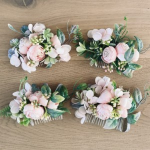 bridal hair comb pink flowers