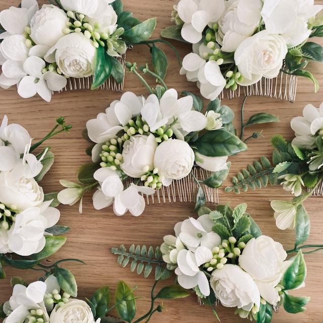 white hair flowers wedding