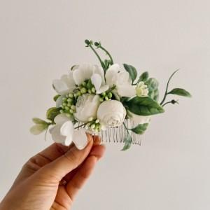 white rose bridal wedding hair comb
