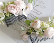 pale baby pink flower hair comb wedding